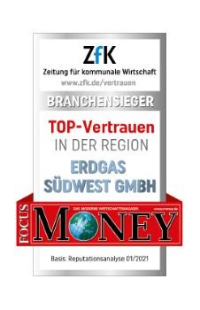 """Erdgas Südwest hat das Siegel """"TOP-Vertrauen in der Region"""" verliehen bekommen. © Erdgas Südwest"""